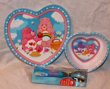 NEW CARE BEARS  DINNERWARE , PLATE, BOWL AND FORK AND SPOON FLATWARE  MELAMINE
