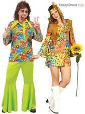 Adults 1960s Hippy Costume Mens Ladies 70s Hippie Fancy Dress Psychedelic Outfit