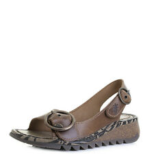 Womens Fly London Tram Camel Wedge Buckle Low Wedge Sandals Sz Size