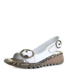 Womens Fly London Tram Off White Wedge Low Wedge Sandals Sz Size