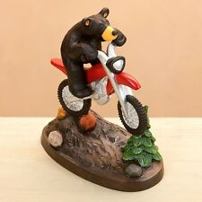 Jeff Fleming Bearfoots Dirt Bike Bear Figurine by Big Sky Carvers