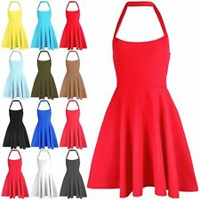 Womens Sleeveless Backless Pleated Halter Neck Swing Skater Flared Mini Dress