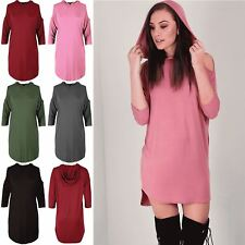 Womens Ladies 3/4 Sleeve Cold Cut Shoulder Curved Hem Hooded Baggy Tunic Dress