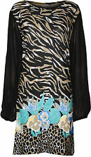 New Plus Size Womens Animal Floral Print Ladies Chiffon Long Sleeve Top 14-28