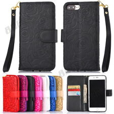 Deluxe 3D Rose Flower Embossing PU Leather Wallet Case Shell For Various Phones