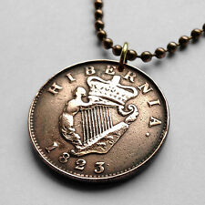 1823! Ireland 1/2 Penny coin pendant Irish Celtic Harp cláirseach Dublin n001793