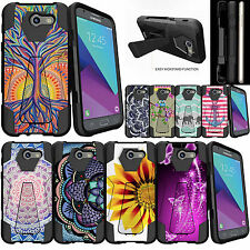 For Samsung Galaxy J3 Emerge | J3 (2017) Hybrid Dual Layer Case Kickstand