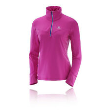 Salomon Trail Runner Midlayer Damen Warm Laufshirt Sport Jogging Top Rosa