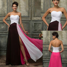 Long Chiffon Split Formal Evening Cocktail Ball Gown Party Prom Pageant Dress uk