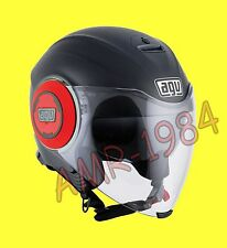 CASCO JET LINEA CITY AGV FLUID SOLID MATT BLACK / RED CON VISIERINO PARASOLE