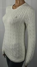 Ralph Lauren Cream Cotton Cable Knit Crewneck Sweater Gold Pony NWT
