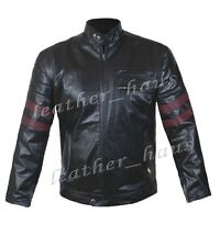 Retro Motorbike Stylish Men's Genuine Leather Jacket with Red Stripes #516
