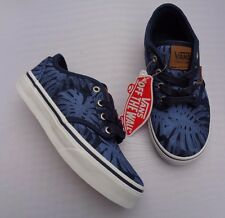 d0bae4d24554 VANS ATWOOD DELUXE YOUTH BOY GIRL CANVAS PALM LEAF BLUE WHITE LACE UP  TRAINER