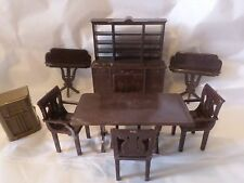 VINTAGE DOLL FURNITURE PLASTIC BROWN TABLE 4 CHAIRS SIDEBOARD HUTCH 2 SIDE TABLE