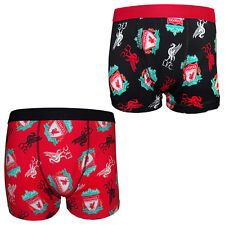 Liverpool FC Official Football Gift Mens Crest Boxer Shorts YNWA Liverbird