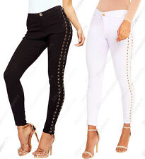 NEW Womens Mid Rise Eyelet Lace up Skinny Jeans Trouser Ladies Size 6 8 10 12 14