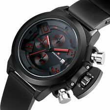 Mens Military Quartz Wrist Watch Date Day Analog Sport Stainless Steel Silicone