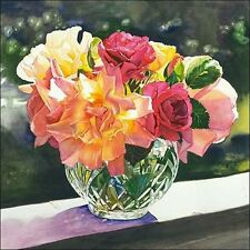 Judy KOENIG: Rose Bowl Toile sur cadre toile roses Strauss Multicolore