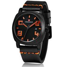 Black Silicone Rubber Band Wrist Student's Watch Quartz Date Day Mens Wrist Gift