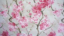 Pink Cherry Blossom Fabric Cotton Linen Printed Vintage Style Sold by Metre