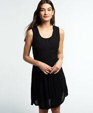 New Womens Superdry Sheer Lacy Sweep Dress Black