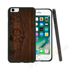 Skull Candy Wood Effect Grip Gel Case Cover For All Top Mobile Phones
