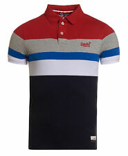 New Mens Superdry Triband Chest Stripe Polo Rich Red/Eclipse Navy