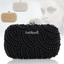 Women Clutch Bag Pearl Beaded Party Bridal Handbag Wedding Evening Purse BE0D