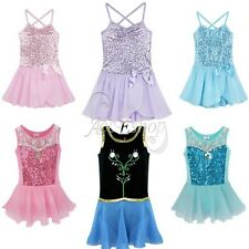 Girls Sequined Leotard Ballet Gymnastic Dance Dress Tutu Skirt Dancewear Costume