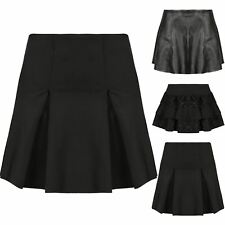 Womens High Waisted Skater Flared Pleated Faux Leather A-Line Short Mini Skirt
