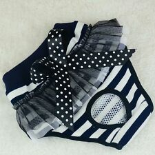Female Pet Dog Puppy Sanitary Striped Panty Pant Lace Bow Short Diaper Underwear