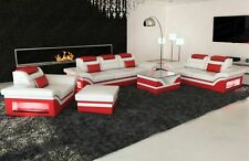 Designer Couch Sofa Set 3ER 2er 1er Leather Luxury Sofa Monza LED Lighting