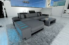 Designer Couch Sofa Bellagio L Form Corner Sofa with LED Lighting Grey Black