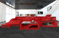 designsofa Corner Sofa Palermo in U-Shape with LED Lighting Mega Sofa Red Black