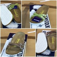 Birkenstock Almere Slipper Sandale Damen grün braun Pearly Apple Pearly Hazel