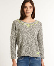 New Womens Superdry Icarus Embellished Knit Grey Marl