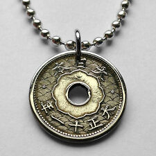 1920's Japan 5 Sen coin pendant Japanese BLOSSOM FLORAL Nippon necklace n000347