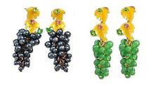Grape Earrings - Enamel & Beads - Black or Green - FREE UK P&P..........CG0572/3