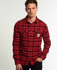 Superdry Hombre Camisa de franela Milled Rojo Timber Check