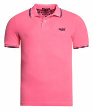 Superdry Hombre Polo Vintage Destroyed Tipped Echo Rosado
