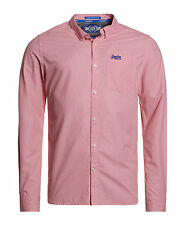 Superdry Hombre Camisa London Button Down Micro Poppy Rojo Gingham