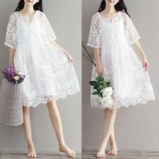 Women White Lace Floral Embroidery Half Sleeve Cocktail Party Casual Dress M-2XL