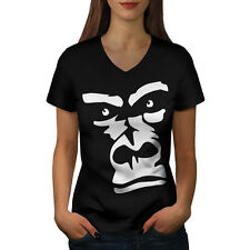 Gorilla Animal Monkey Women V-Neck T-shirt S-2XL NEW | Wellcoda