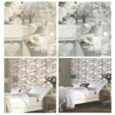 Arthouse charlottle Floral Shabby Chic Papel Pintado - Gris & Natural -