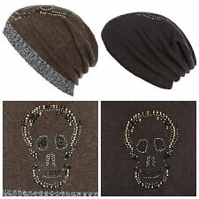 NEW RIVER ISLAND GREY/BLACK OR KHAKI GREEN 'CRYSTAL' SKULL DESIGN BEANIE HAT