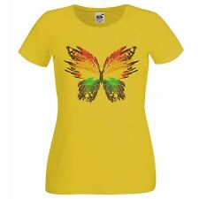 Ladies Yellow Abstract Butter Fly Art T-Shirt Womens Rainbow Insect TShirt