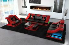 Luxury Sofa Set 3-2-1 Sofa Set Turino Premium Leather Sofa LED Lighting