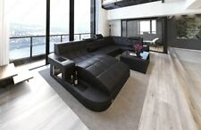 Leather Sofa Wave U-Shaped LED Design Sofa Corner Couch megasofa Black-Black