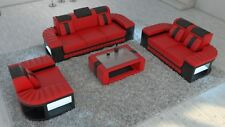Sofa Set Suite Seating Area Bellagio 3-2-1 with LED Leather Sofa Red