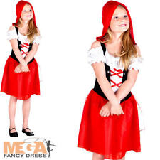 Little Red Riding Hood Girls Fancy Dress Fairy Tale Book Day Childs Kids Costume